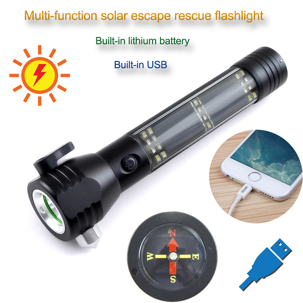Cree R5 3800LM Multifunctional Solar Waterproof Rechargeable Led Flashlight with Safety Hammer Power Bank Function