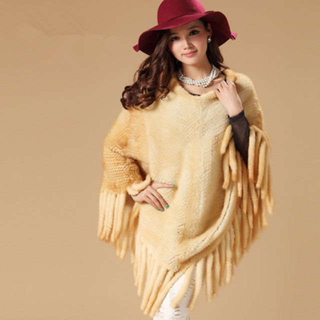2016 Autumn Winter Ladies' Real Knitted Mink Fur Shawls Pullover with Tassels Women Fur Poncho Pashmina Wraps Cape VK1411
