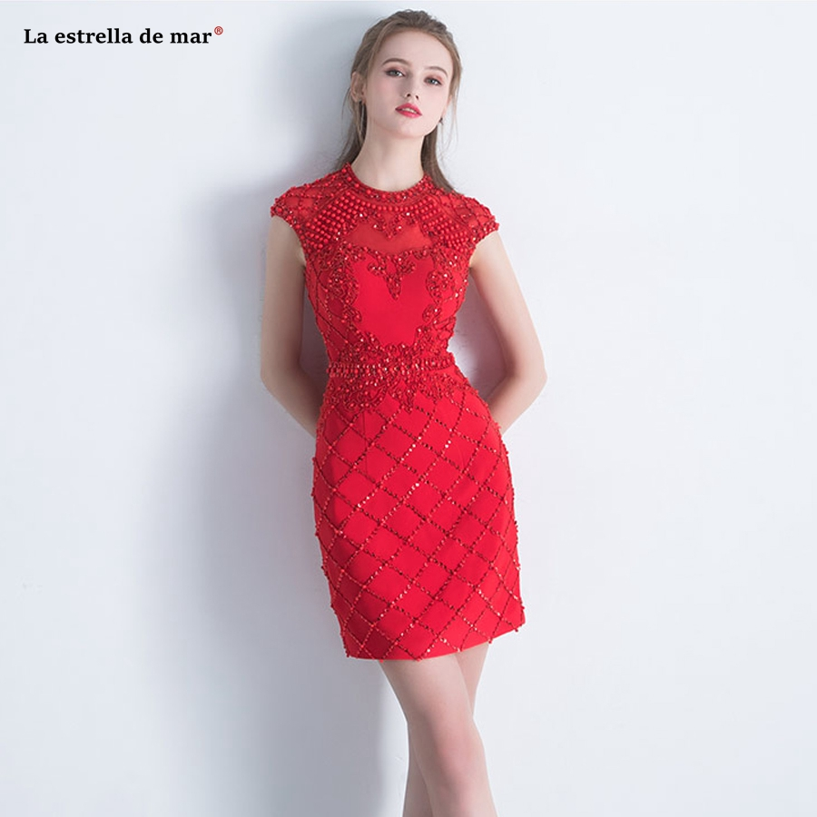 Vestido Coctel 2019 New High Neck Lace Beaded Cap Sleeves Back Sexy Mermaid Red Red Cocktail Dresses Short Elegant Prom Gown