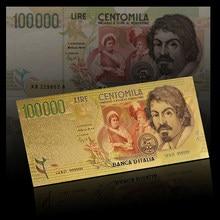Billetes chapados en oro 2015, productos más vendidos, venta al por mayor, 100 000 billetes de Lira italiana para colección de valores