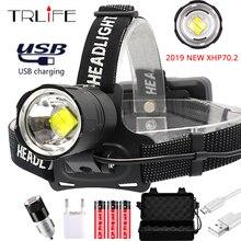 100000LM Super Bright XHP70.2 USB Rechargeable Led Headlamp XHP70 Headlight Hunting Cycling Lanterna Waterproof Use 3x18650