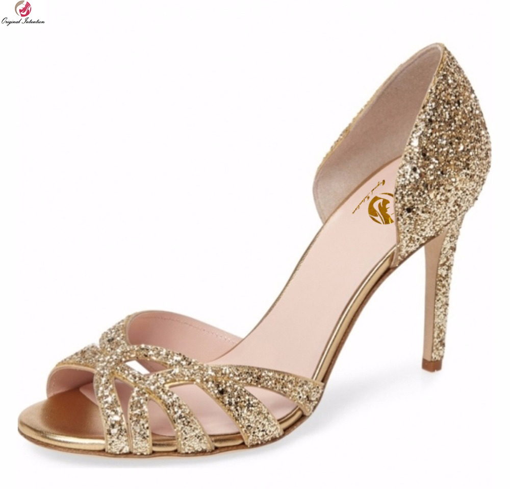 Original Intention Popular Women Sandals Glitter Open Toe Thin Heels Sandals  Elegant Gold Silver Shoes Woman Plus US Size 3 10.5-in High Heels from Shoes  on ... 4a530db19e75