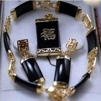 Bonito das Mulheres novas preto pingente pulseira brinco conjunto Jóias A52690
