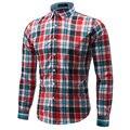 Camisas a cuadros Hombres de la Marca de Algodón de Manga Larga Camisas de Los Hombres Ocasionales Slim Fit Mens Camisas de Vestido Camisa Chemise Homme Sociales Rojo 4XL
