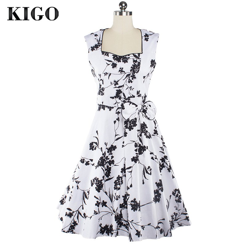 Detail Feedback Questions about KIGO Party Swing Dress Sleeveless Floral  Vintage Dress Rockabilly Pin Up 1950s Casual Woman Print Dress Vestidos  Tunique ... 4be5f1c05ffc