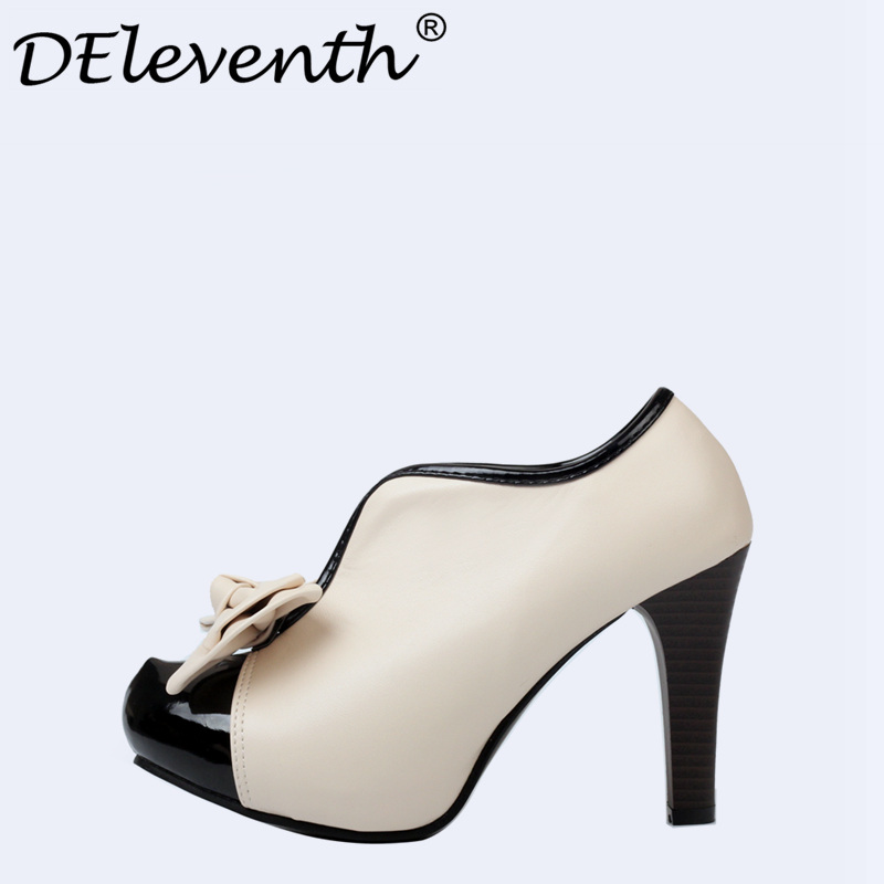 Romantic Women Soft Leather Sweet Bowtie Slip on High heels Shoes Woman Round Toe Dress Shoes Pumps Black & White Mixed Color 2017 shoes women med heels tassel slip on women pumps solid round toe high quality loafers preppy style lady casual shoes 17