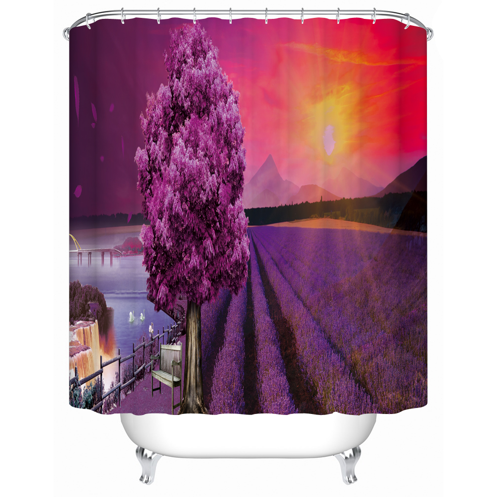 Purple butterfly curtains - Picture Printing Decorative Shower Curtain Purple Scenery Curtain For Hotel Home Bath Water Resistant Fabric Curtains