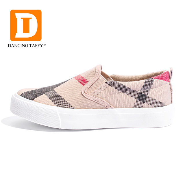 Gingham Striped Children Shoes New 2019 Brown Slip On Canvas Girls Boys Sneakers Fashion Rubber Anti Silppery Spring Kids Shoes
