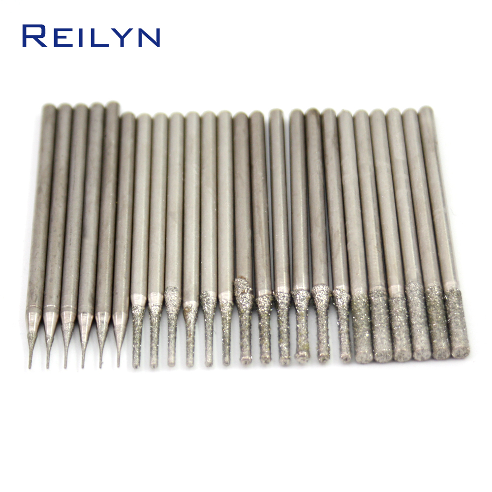A type Emergy diamond grinding burr jade stone drill bits teeth grinding bits drilling needle for dremel hanging mill