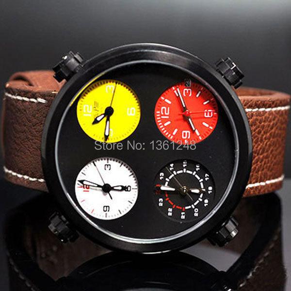 48mm Parnis Big Face black PVD sandwich dial Multiple Time Zone quartz WATCH Full chronograph P57