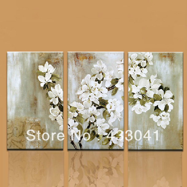 Wall Decor Sets hand painted 3 piece apple tree blossom white flower wall decor