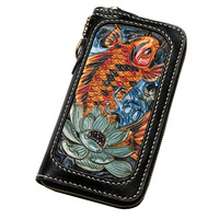 Unisex handmade fog wax leather carved long zipper wallet squid lucky Japanese retro personality multi card wallet