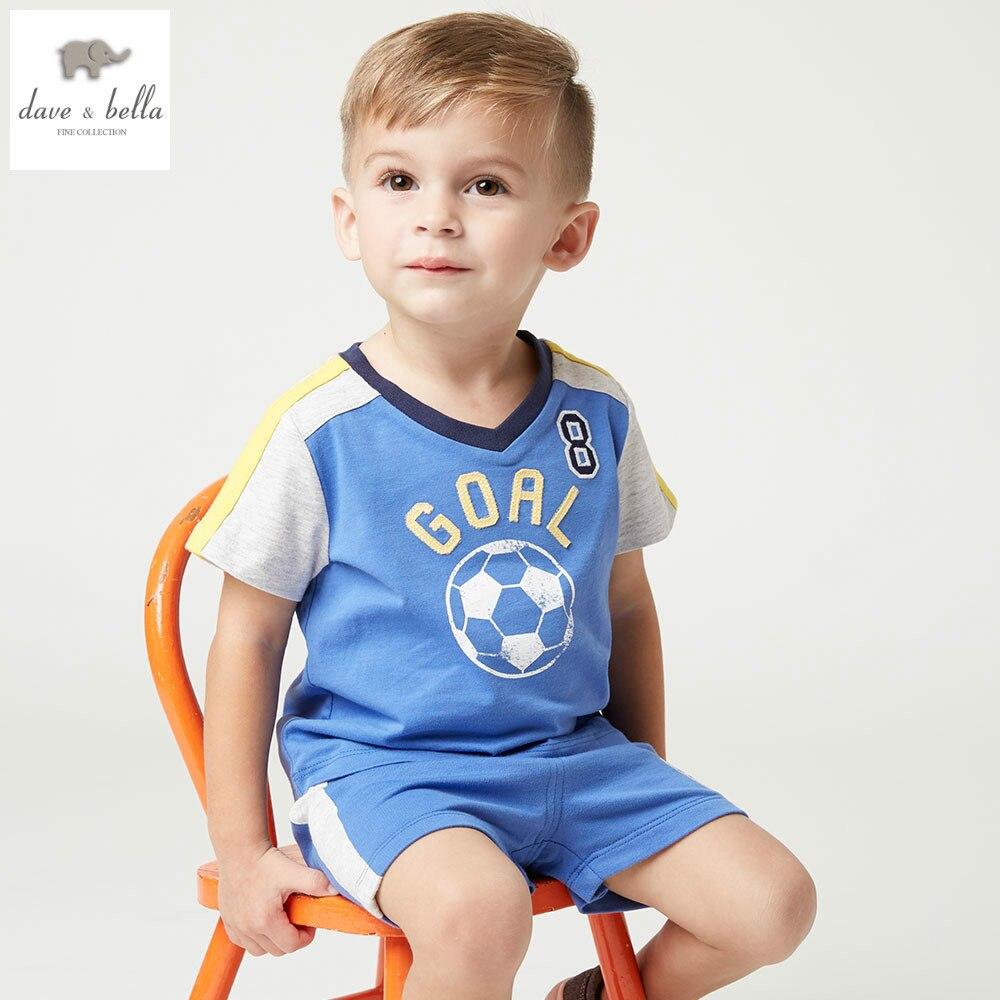 купить DB4758 dave bella summer baby boys clothing sets blue shorts sets child set sport boys clothes kids sets baby costumes недорого