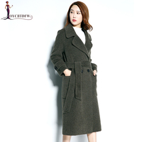 Autumn and Winter Women Navy Blue Double sided Woolen Cloth Coat 2018 New Fashion Long sleeved Ladies Mid Long Alpaca Coat XY184