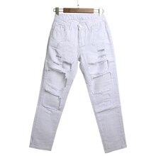 Оптовая продажа 2016 новый уникальный мода взлетно-посадочной полосы хип-хоп отверстие wornout разорвал девушка брюки жан уничтожить женщин тонкий джинсовые брюки