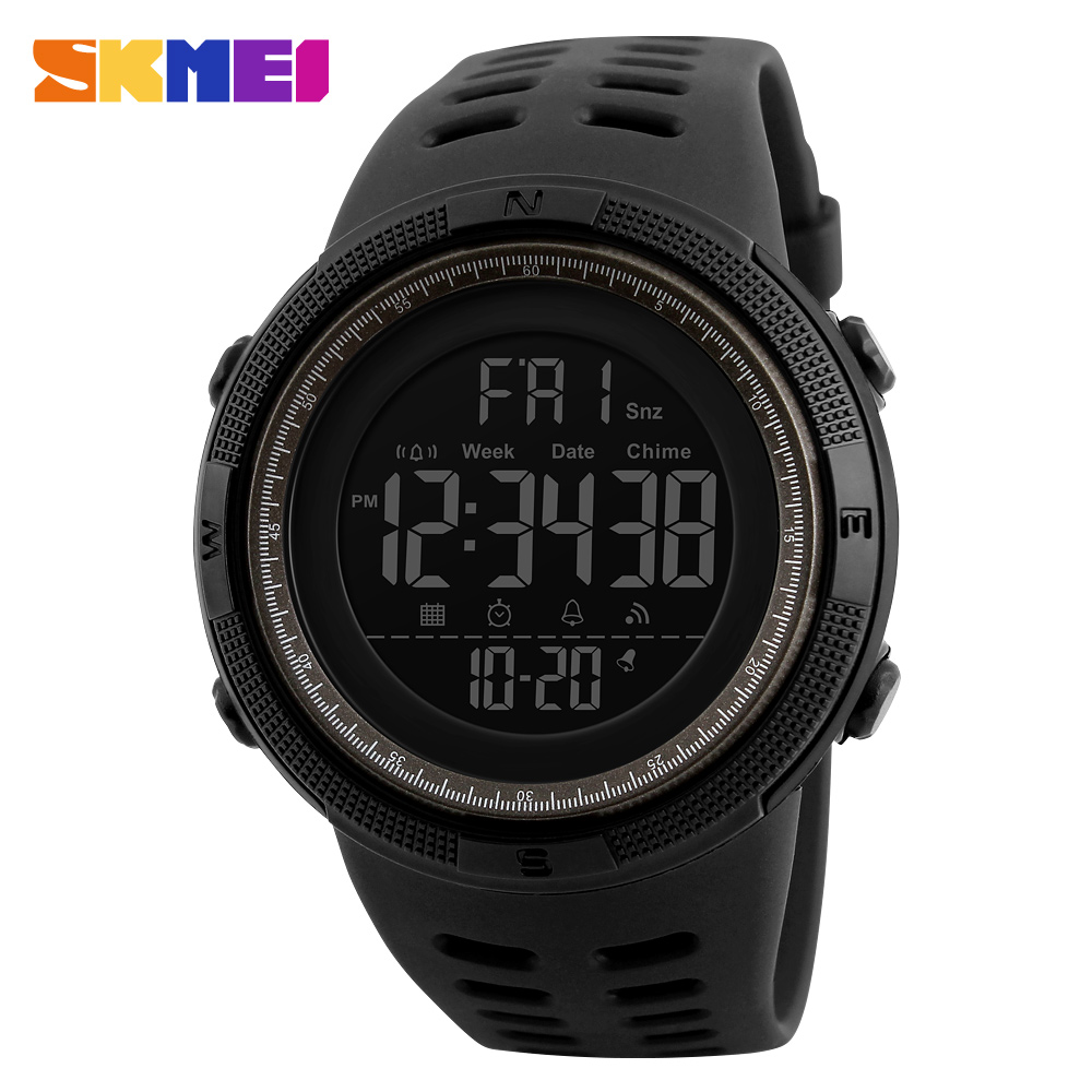 SKMEI Brand Digital Watch Men Sports Watches Countdown Double Time Wristwatches Relojes 50M Waterproof Relogio Masculino