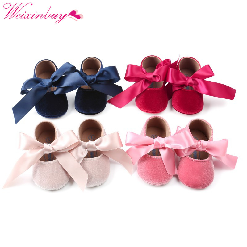 Spring Baby Girl Shoes Suede Ribbon Bow Asakuchi Fashion Baby Shoes Newborn First Walkers Baby Shoes