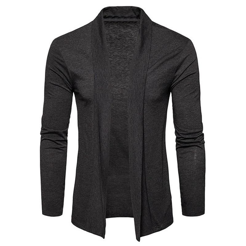 Adisputent Male Solid Color Shawl Sweater Men Fashion Thin Coats Pull Cardigan Men's Long Sleeve Knitwear Sweaters Jackets Tops