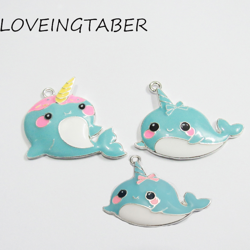 ( Choose Design First ) 10pcs/bag Silver Color Full Enamel Narwhal Corn Pendant For Chunky Kids Necklace Jewelry Making