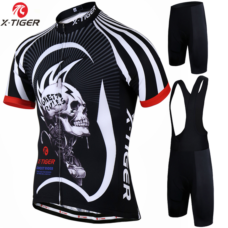 X-Tiger Cycling jersey Set Summer Bicycle Clothing Maillot Ropa Ciclismo Hombre MTB Bike Clothes Sportswear Suit Cycling Set new flowers skulls woman s bicycle jersey shorts suit bike bicycle short sleeve clothing set sportswear cycling clothes