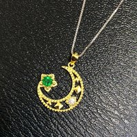 Collier Qi Xuan_Fashion Jewelry_Colombian Green Stone Moon Necklaces_S925 Solid Silver Pendant Necklaces_Factory Directly Sales