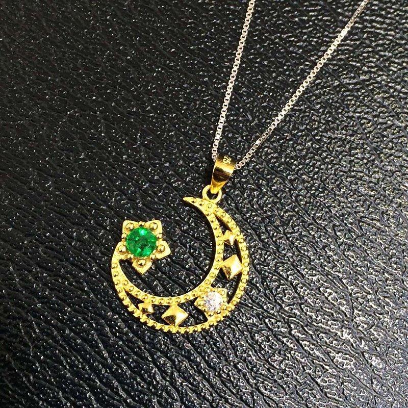 Collier Qi Xuan_Fashion Jewelry_Colombian Vert Pierre Lune Necklaces_S925 Solide Pendentif En Argent Necklaces_Factory Directement Ventes