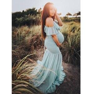 Image 2 - ארוך יולדות צילום אבזרי שמלות לנשים בהריון בגדי הריון שמלות לצילומים הריון שמלת מקסי שמלה