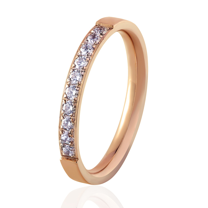Top Quality Fashion Jewelry Crystal Wedding Rings Stainless Steel Rose Gold Color Female Ring For Woman And Girl Best Gift 1