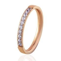 Bague de mariage cristal pour femmes, bague en acier inoxydable, couleur or Rose, meilleur cadeau pour femmes et filles, qualité supérieure