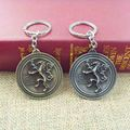 New HBO Game of Thrones keychain Family crest Casterly Rock:House Lannister Silver 5cm Metal Key chain Keyring men's jewelry