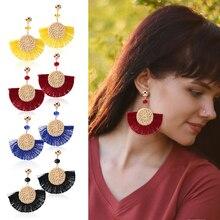 HOCOLE Bohemian Tassel Earring Statement Ethnic Rattan Knit Silk Fabric Drop Dangle Earrings For Women Fashion Jewelry