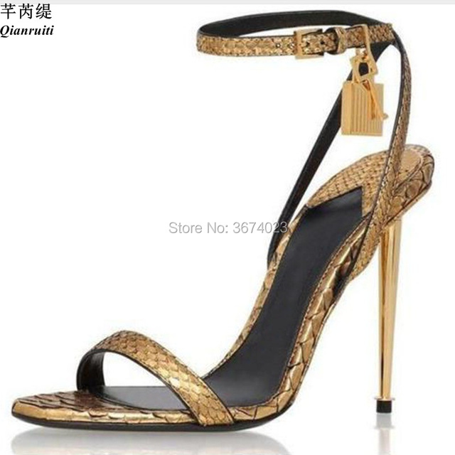 Qianruiti Plus Eu 44 Women Gold Padlock Sandals Luxury Ankle Wrap Stilettos  Metal Tone High Heels 2ef9586c8eaa