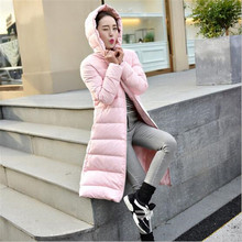 2017 Winter New Casual Hooded Thicken Warm Down Jacket Medium long Solid color Slim Large size High quality Women Jackets G0446