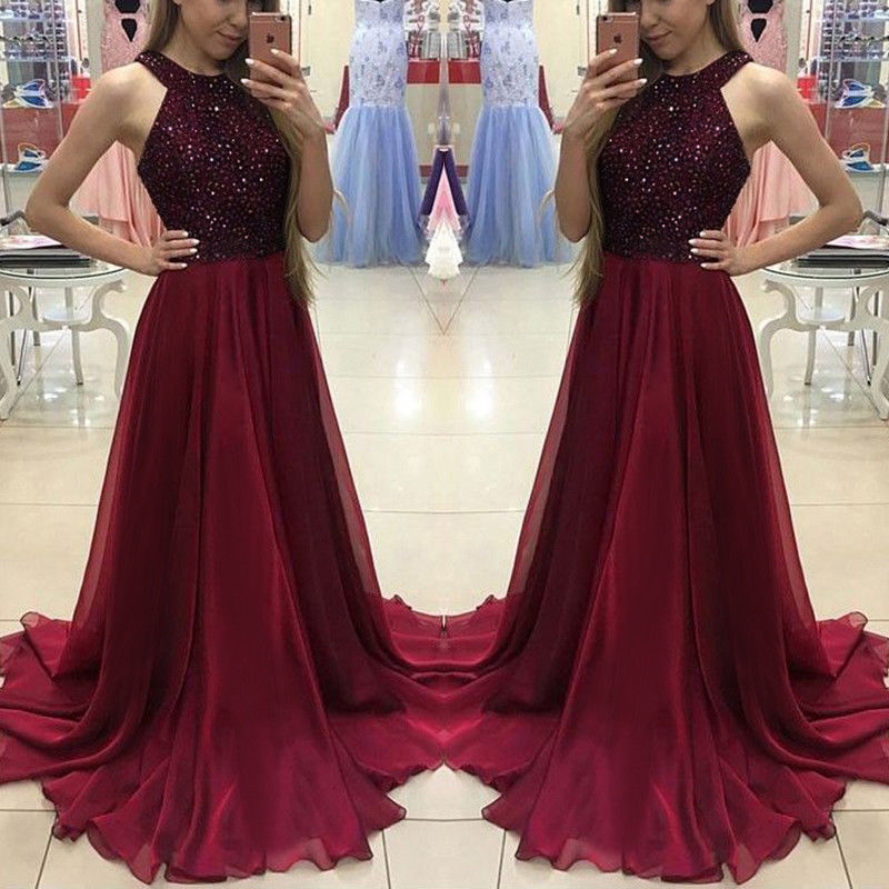 Hot Women Ladies Formal Dress Long Evening Party Ball Gown Ladies Shinny Halter Dresses formal wear