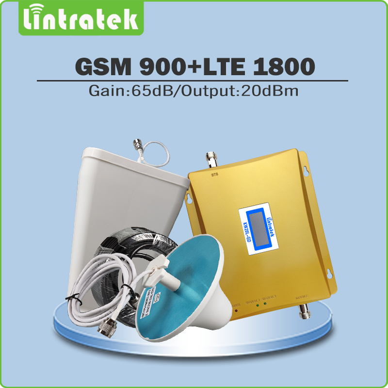 Dual Band Signal Booster 900Mhz 1800Mhz Cellphone amplifier GSM DCS Mobile Signal Repeater with LPDA/Ceiling Antenna cable @6.4