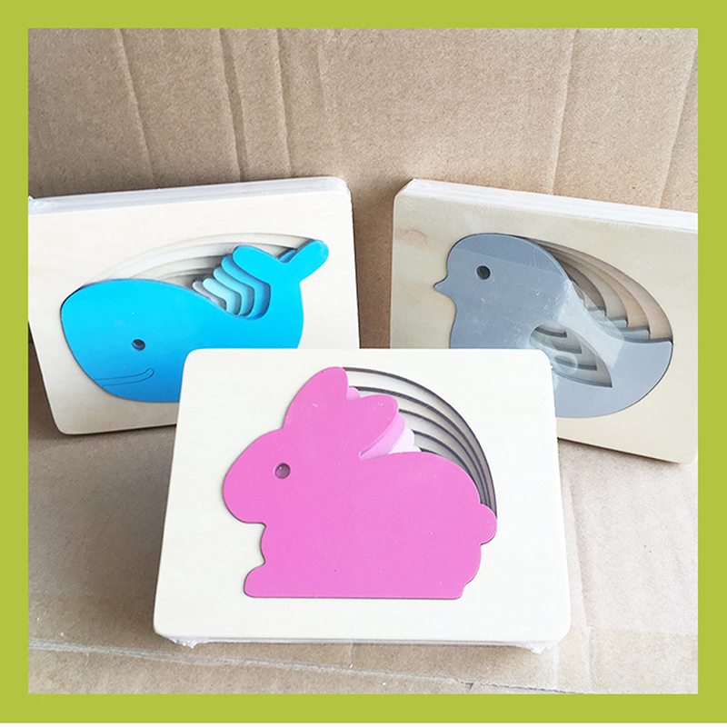 Multilayer Jigsaw Baby Wooden Toys Animal Cartoon Rabbit/Bird/Whale Puzzle Child Early Enlightenment Educational Gift Puzzle
