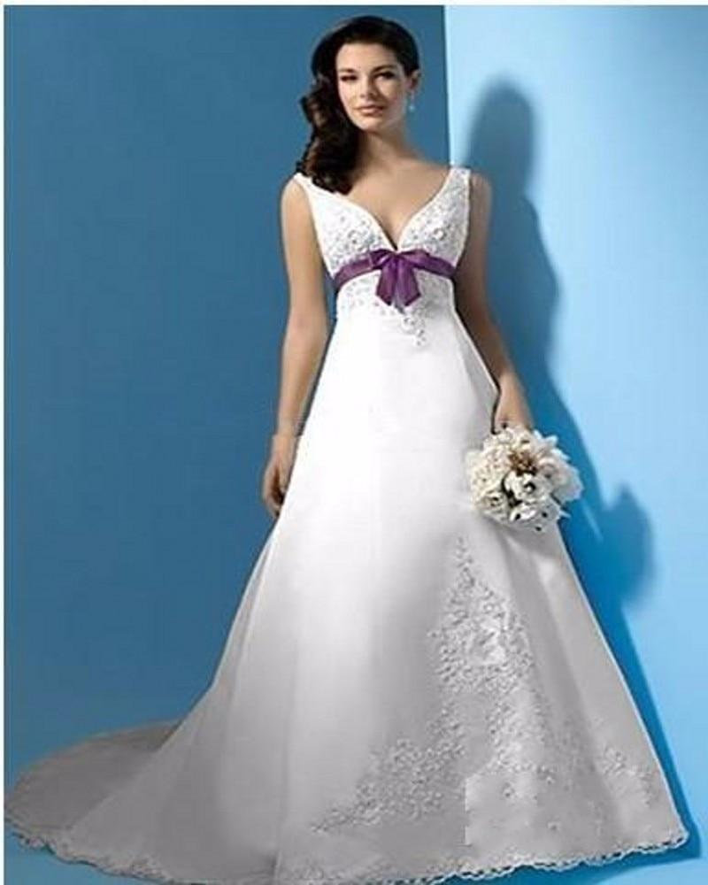 best selling wedding dress white purple v neck emp
