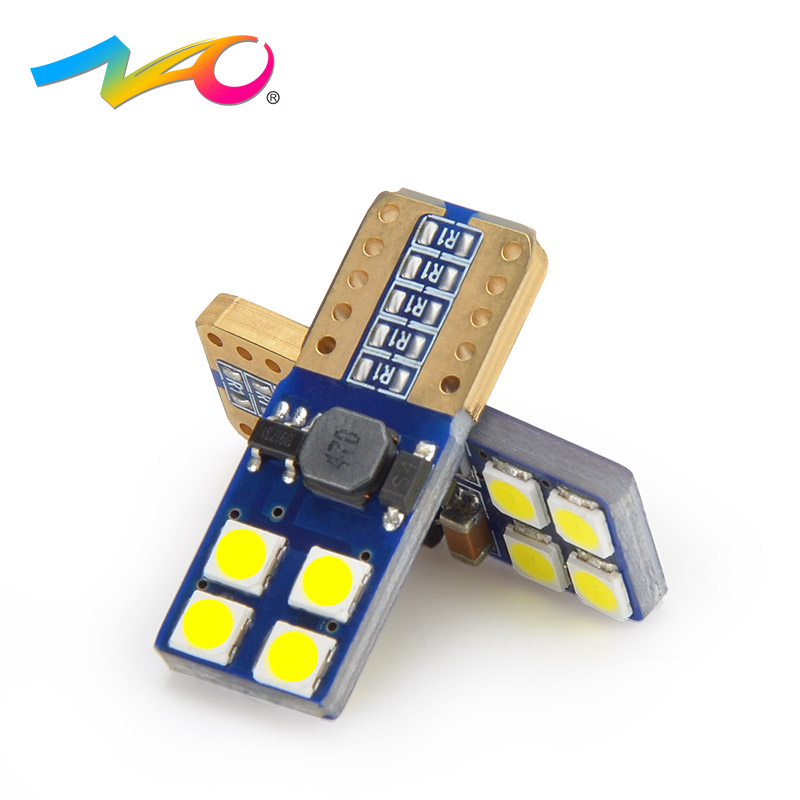 NAO W5W LED T10 Canbus Car led Blubs T10 led bulb W5W 3030 Chips 12v auto signal light Reading light 8smd chips White Amber Red