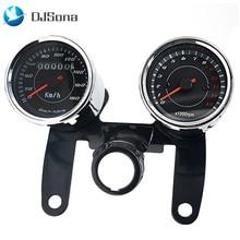 12V Universal LED Motorcycle Tachometer Odometer 2 in 1 Stainless Steel Motorbike Meter