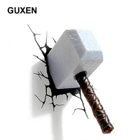 GUXEN Marvel Hammer 3D Night Light Amazing Creative Sticker For Bed Lights Iron Lamp Led Lamp