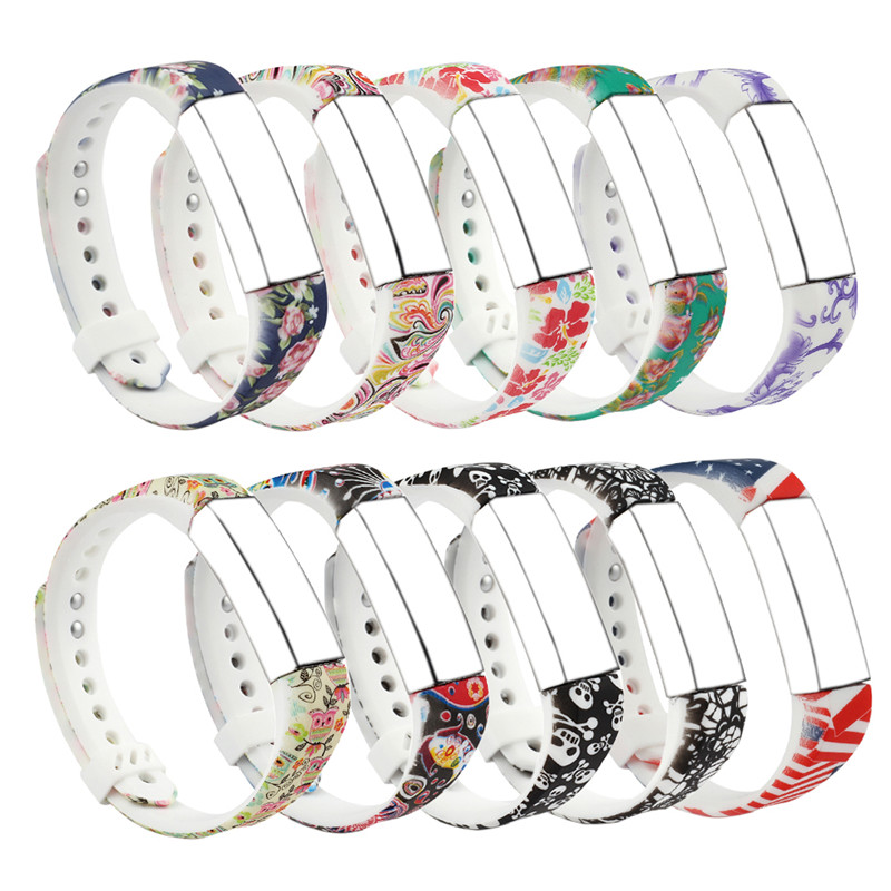 Bemorcabo For Fitbit Alta Bands,21 Colors Cartoon Graphic DIY Replacement Bracelet Bands with Metal Clasp and Ultathin Fastener