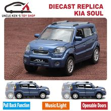 Diecast Kia Soul Scale Model Car, Kids Metal Brand Toys Collection Gift With Openable Door/Pull Back Function/Music/Light(China)