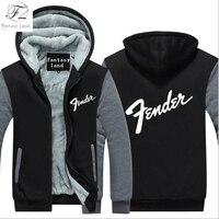 Dropshipping Guitar Brand Fender Logo Mens Zipper Hoodies Fleece Thicken Music Fans Fashion Jacket Sweatshirt Coat