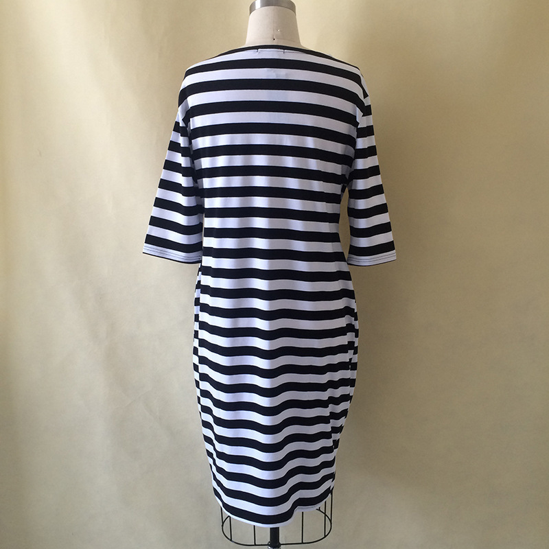 5XL 6XL Large Size 2017 Spring Summer Dress Big Size Dress White Black Striped Dresses Plus Size Women Clothing Belt Vestidos