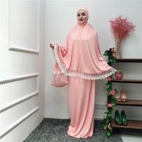 Muslim dress fashion lace hijab dress abaya dubai ramadan islamic clothing loose large size prayer dress