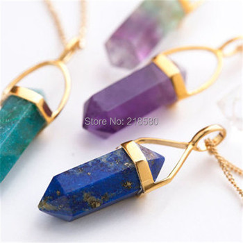 N20141224 Mini Point Pendant Stone or Crystal Point Spike Point Necklace фото