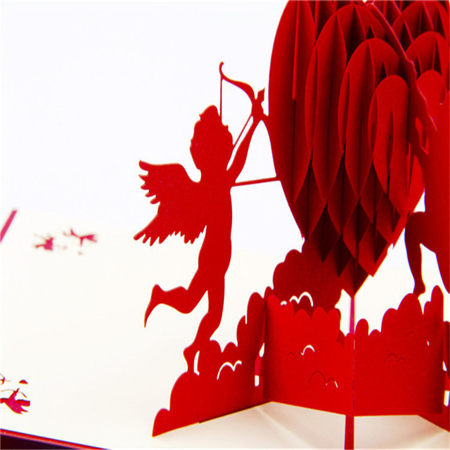 cupid hearts 3d stereoscopic creative holiday greeting card