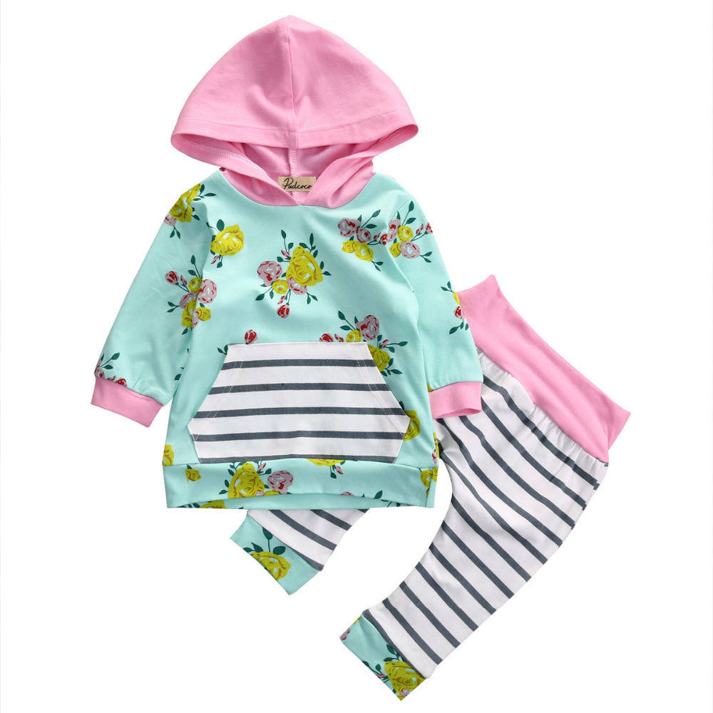 2pcs!!Newborn Baby Girls Infant Floral Long Sleeve Hooded  Top T-Shirt+Striped Long Pants Baby Autumn Clothes Outfit Set 0-3Y infant newborn baby girls clothes set hooded tops long sleeve t shirt floral long leggings outfit children clothing autumn 2pcs