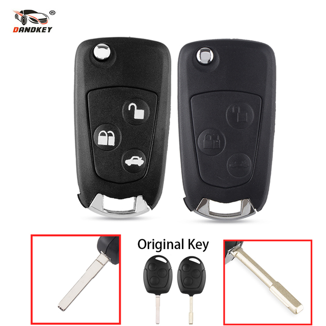 DANDKEY 3 Buttons Modified Flip Folding Remote Key Flip Fob Shell For FORD FOCUS MONDEO Fiesta Replacement Smart Key Shell