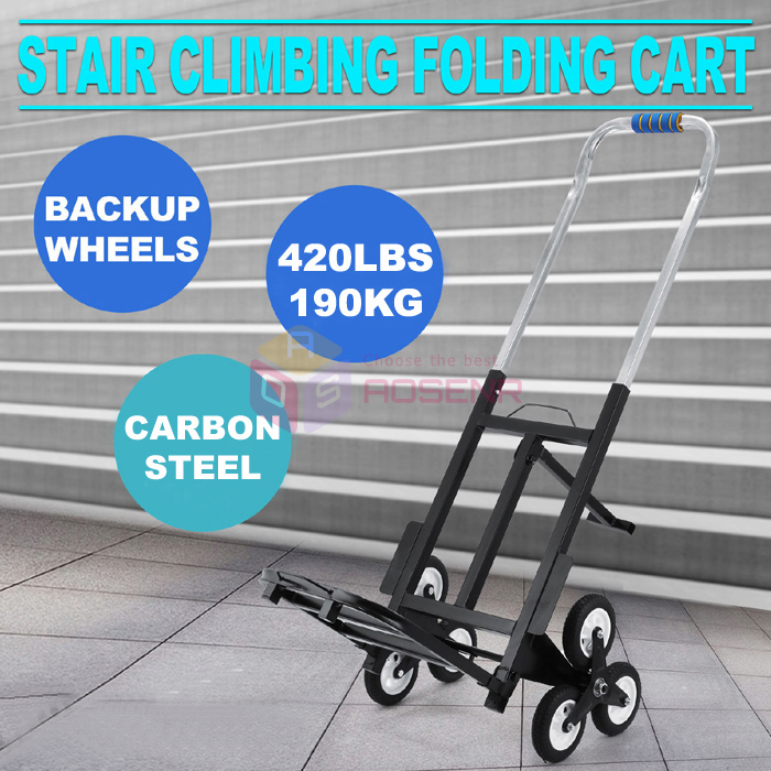 US $189 99 |Portable Backup Wheels Stair Climbing Folding Six Wheeled 190kg  Stair Climber Cart Hand Trolley Climb Cart Flat Truck-in Tool Parts from